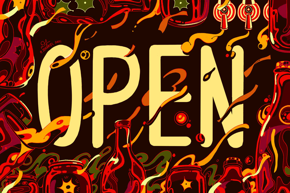 """Raices Brewing - Deborah Lee – """"OPEN"""" in cream-colored text is surrounded by a border of beer containers with streams of beer floating throughout the image."""