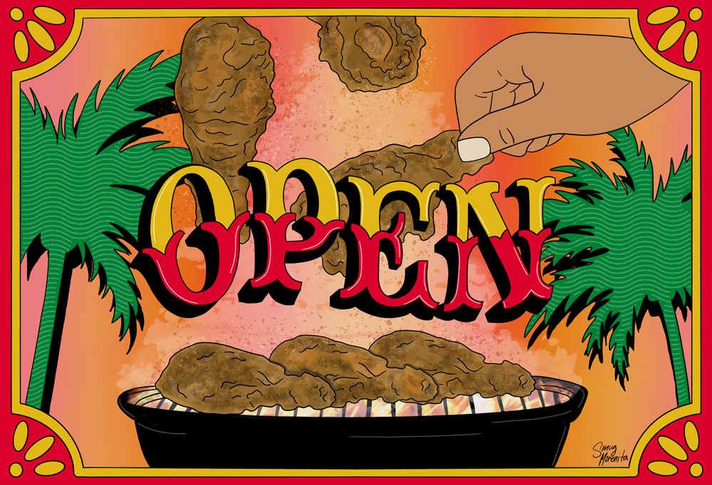 """Los 3 Pollos - Gabriela Aleman – """"OPEN"""" is in yellow & red text over fried chicken on a grill with one being picked up and two falling into frame."""