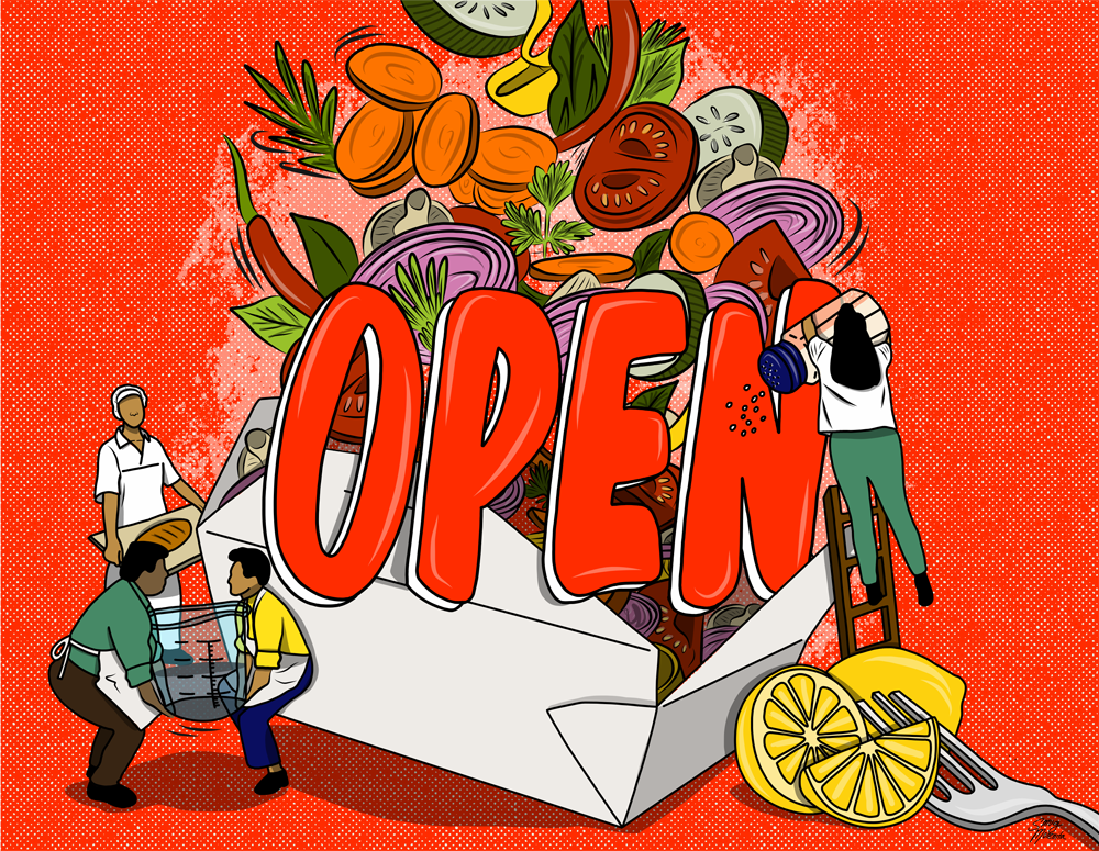"""PREP Atlanta – Gabriela Aleman – """"OPEN"""" in red over a takeout container with vegetables falling into it. Small people are adding additional items to the mix."""