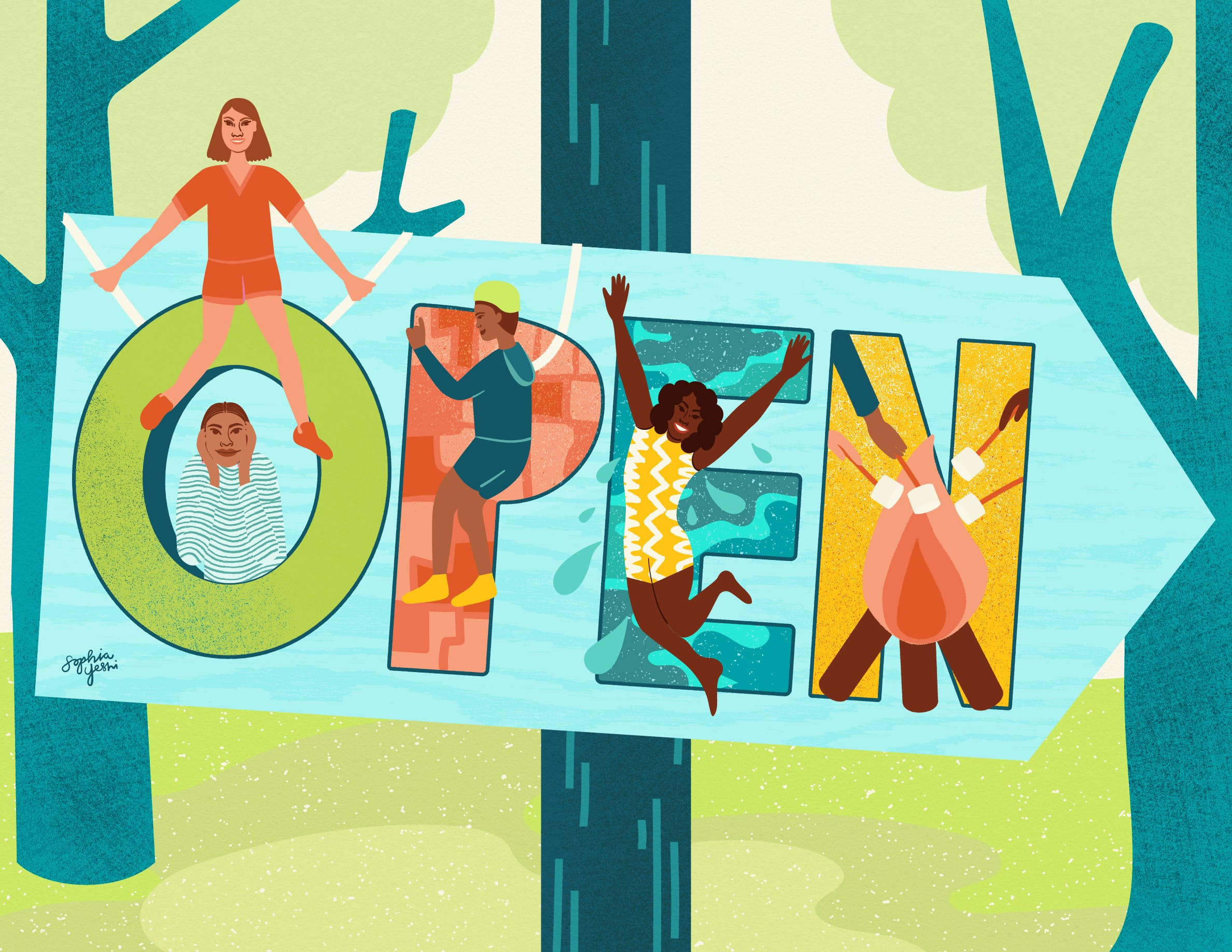 """Camp Kupugani - Sophia Yeshi – """"OPEN"""" in block letters with kids playing in each, including tire swimming, rock climbing, swimming & roasting marshmallows."""