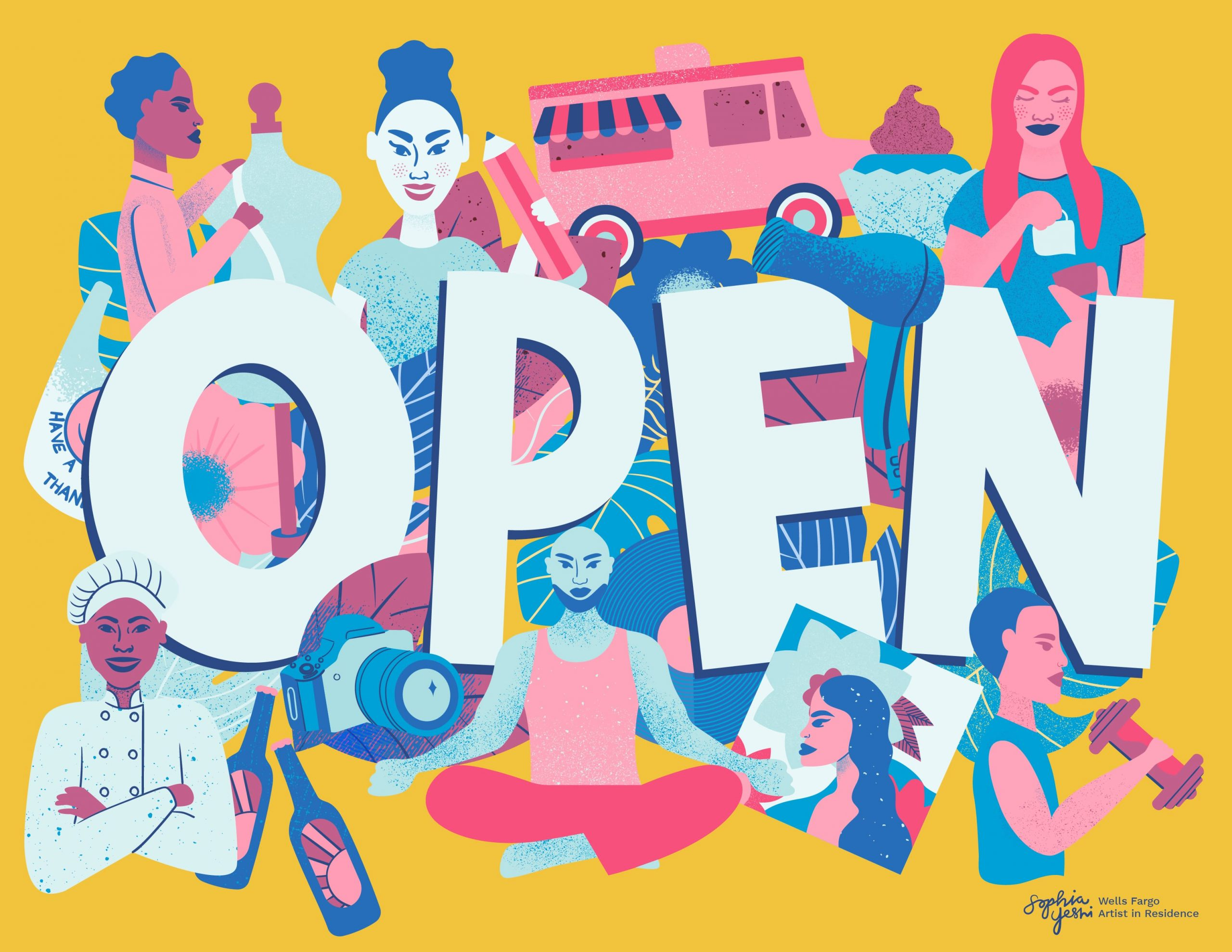 """Artists create """"Open"""" signs to celebrate women and diverse-owned small businesses who persevered during the pandemic"""
